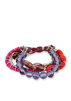 Kenneth Cole Silver-Tone Mixed Berry Multistrand Stretch Bracelet