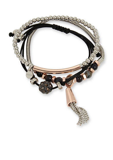 Kenneth Cole Two-Tone Black Faceted Bead & Tassel Boxed Bracelet Set
