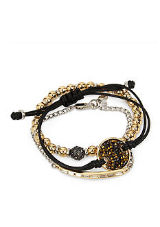 Kenneth Cole Two-Tone Sprinkle Stone Disc Boxed Bracelet Set