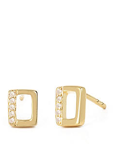 Kenneth Cole Gold-Tone Open Rectangle Stud Earring