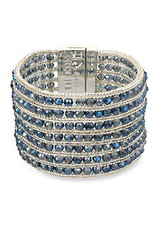 Kenneth Cole Silver-Tone Woven Faceted Bead Bracelet