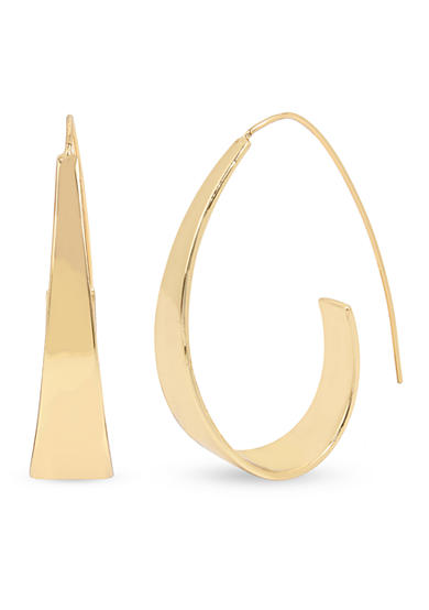 Kenneth Cole Gold-Tone Sculptural Wire Hoop Earrings
