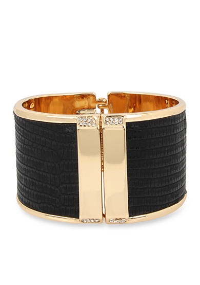 Kenneth Cole Gold-Tone Pave Leather Hinged Bangle Bracelet