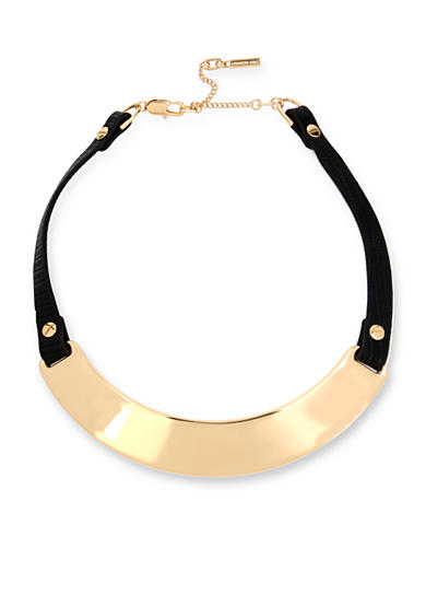 Kenneth Cole Gold-Tone Sculptural Collar Leather Necklace
