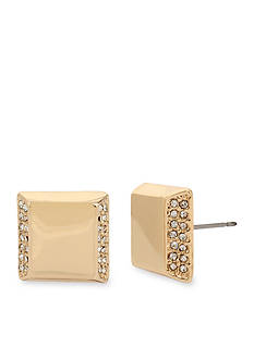 Kenneth Cole Gold-Tone Pave Square Stud Earring