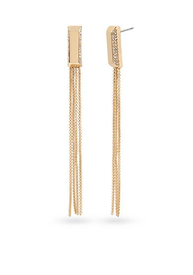 Kenneth Cole Gold-Tone Pave Rectangle Linear Multi Chain Earring