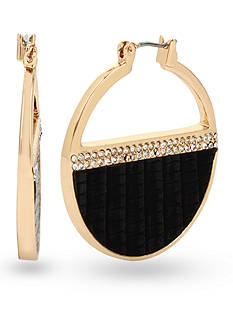 Kenneth Cole Gold-Tone Pave Leather Hoop Earring