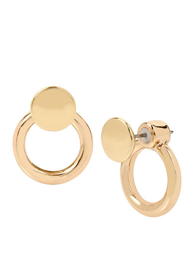 Kenneth Cole Gold-Tone Double Circle Front and Back Earrings