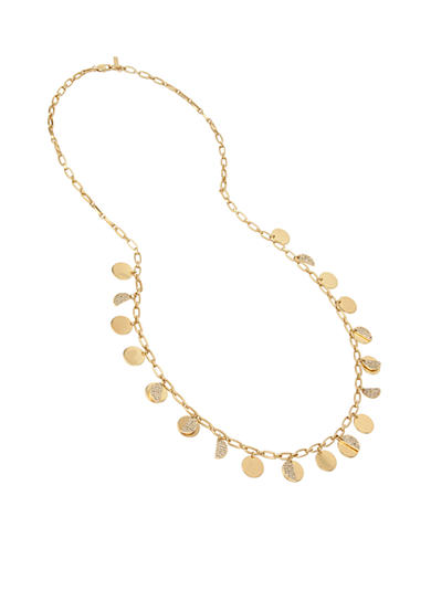 Kenneth Cole Gold-Tone Shaky Pave Disc Long Necklace
