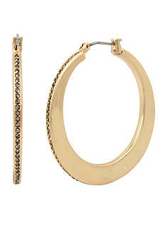 Kenneth Cole Gold-Tone Pave Edge Hoop Earrings
