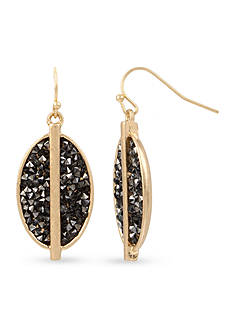 Kenneth Cole Gold-Tone Black Diamond Sprinkle Stone Oval Drop Earrings