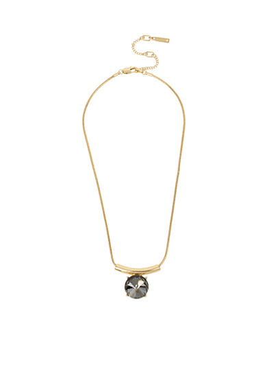 Kenneth Cole Gold-Tone Black Diamond Faceted Stone Pendant Necklace
