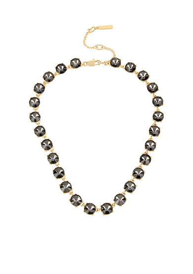 Kenneth Cole Gold-Tone Black Diamond Stone Collar Necklace