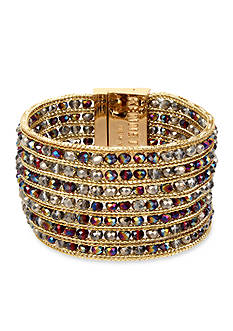 Kenneth Cole Gold-Tone Woven Faceted Bead Bracelet