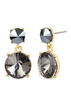 Kenneth Cole Gold-Tone Black Diamond Stone Double Drop Earrings