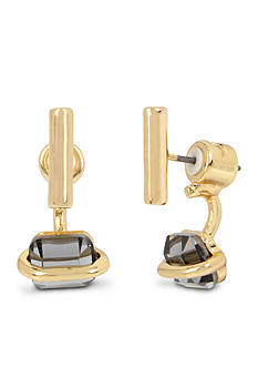 Kenneth Cole Gold-Tone Black Diamond Stone Front Back Earrings