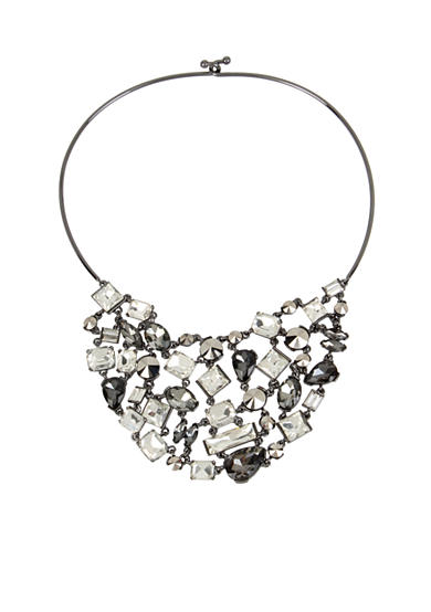 Kenneth Cole Hematite-Tone Mixed Metallic Faceted Stone Bib Frontal Wire Collar Necklace
