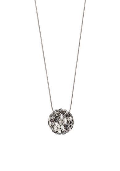 Kenneth Cole Silver & Hematite-Tone Mixed Metallic Faceted Stone Ball Pendant Long Necklace