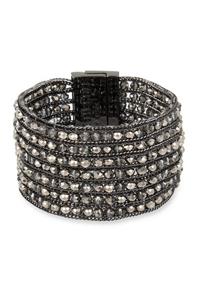 Kenneth Cole Hematite-Tone Woven Faceted Bead Multi Row Hematite Bracelet