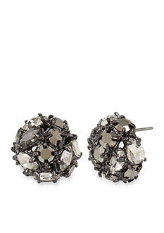 Kenneth Cole Hematite-Tone Mixed Metallic Faceted Stone Cluster Round Stud Earrings