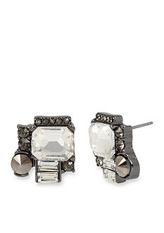 Kenneth Cole Hematite-Tone Mixed Metallic Faceted Stone Cluster Stud Earrings