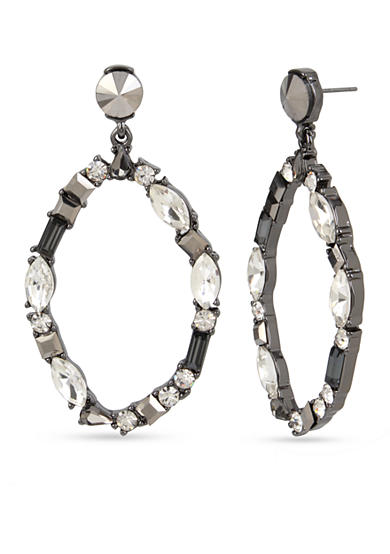 Kenneth Cole Hematite-Tone Mixed Metallic Faceted Stone Oval Gypsy Hoop Earrings