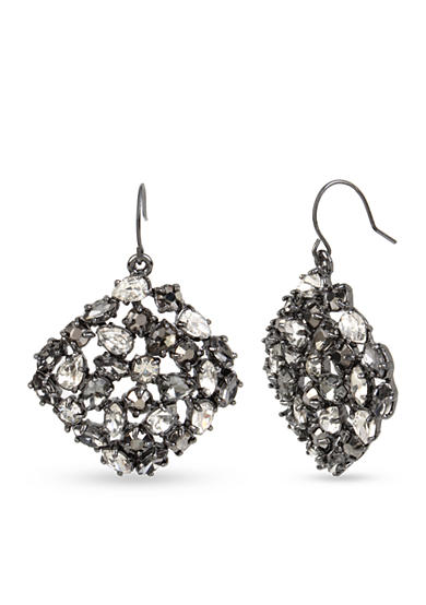 Kenneth Cole Hematite-Tone Mixed Metallic Faceted Stone Square Drop Earrings
