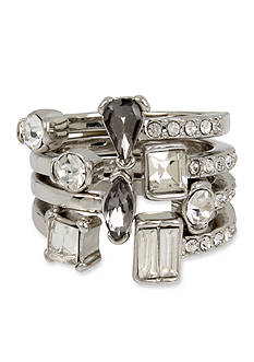 Kenneth Cole Silver-Tone Mixed Metallic Faceted Stone Stacked Ring Set