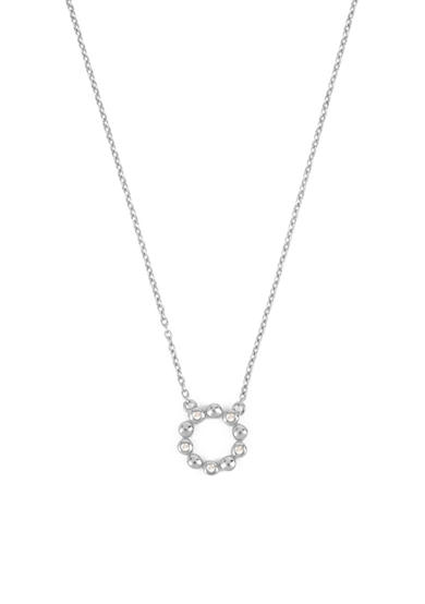 Kenneth Cole Sterling Silver-Tone Diamond Circle Pendant Necklace