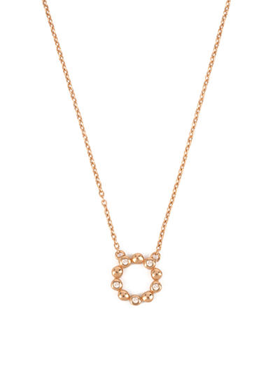Kenneth Cole Rose Gold-Tone Sterling Silver Diamond Circle Pendant Necklace