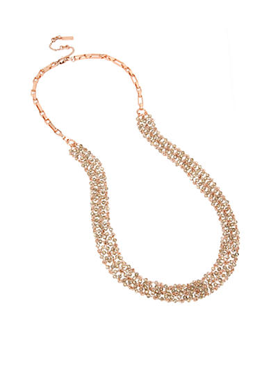 Kenneth Cole Rose Gold-Tone Faceted Bead Mesh Long Necklace