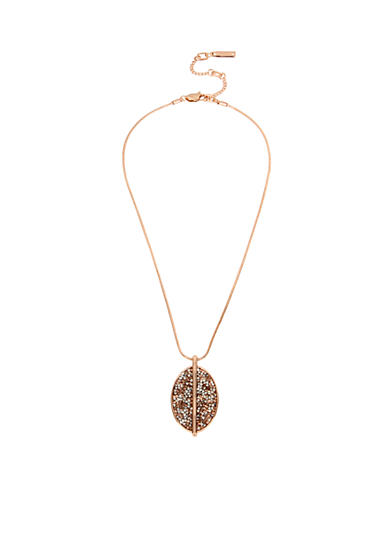 Kenneth Cole Rose Gold-Tone Mixed Sprinkled Stone Oval Pendant Necklace