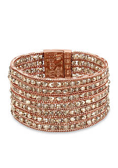 Kenneth Cole Rose Gold-Tone Woven Faceted Bead Multi-Strand Bracelet