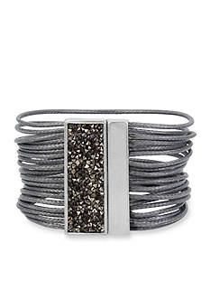 Kenneth Cole Silver-Tone Sprinkle Stone Bar Multi Row Bracelet