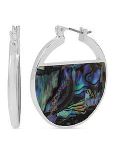 Kenneth Cole Silver-Tone Geometric Abalone Hoop Earrings