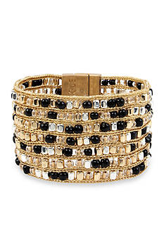 Kenneth Cole Two-Tone Woven Bead Multi Row Bracelet