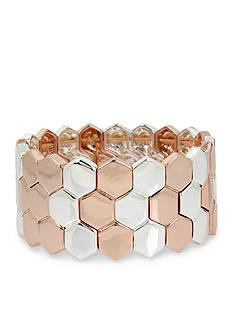 Kenneth Cole Two-Tone Geometric Stretch Bracelet
