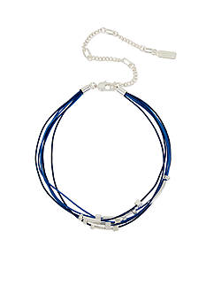 Kenneth Cole Silver-Tone Mixed Beaded Navy Multi Row Leather Choker Necklace