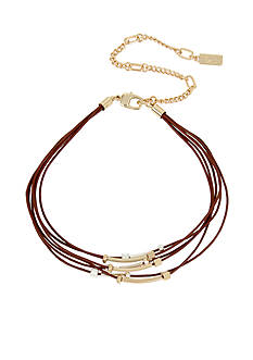 Kenneth Cole Two-Tone Mixed Beaded Tan Multi Row Leather Choker Necklace