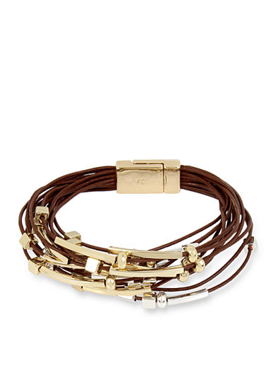 Kenneth Cole Gold-Tone Mixed Beaded Tan Leather Multi-Strand Bracelet