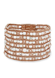 Kenneth Cole Rose Gold-Tone Woven Mixed Bead Rose Gold Bracelet