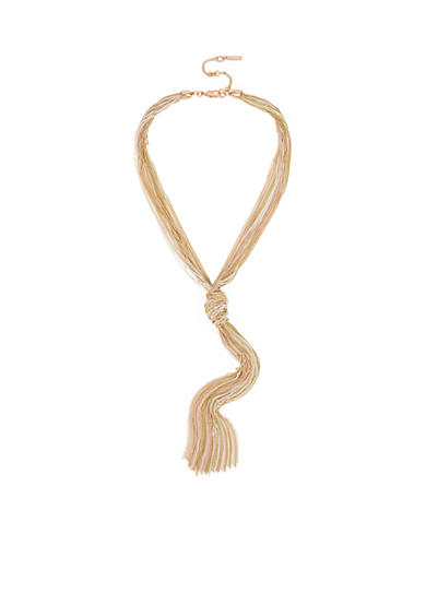 Kenneth Cole Mixed Metal-Tone Multi Row Knot Y-Shaped Necklace