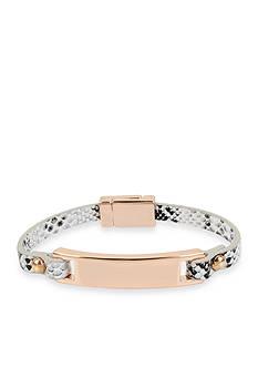 Kenneth Cole Rose Gold-Tone Bar Snake Leather Bracelet