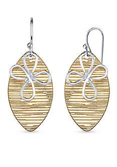 Belk Silverworks Silver Plated Two-Tone Flower Novelty Design Drop Earrings