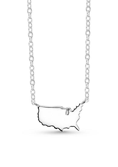 Belk Silverworks United States Map Necklace