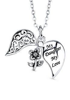 Belk Silverworks Silver Plated My Daughter My Love Filigree Heart Pendant