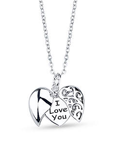 Belk Silverworks Silver Plated I Love You Hidden Message Heart Pendant