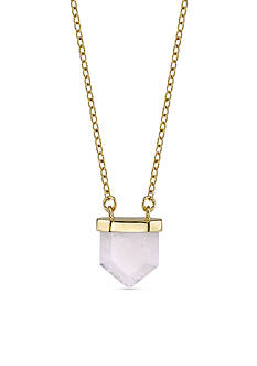 Belk Silverworks Gold-Tone Pentagon Rose Quartz Pendant Necklace