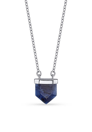 Belk Silverworks Silver-Plated Pentagon Sodalite Stone Pendant Necklace