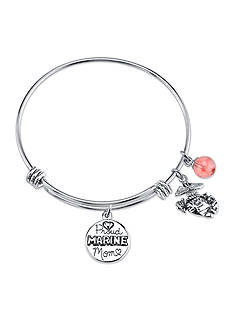 Belk Silverworks Stainless Steel 'Proud Marine Mom' Charm Bangle